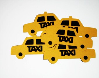 Taxi Die Cuts-Taxi Paper Die Cuts-Paper Taxis-Taxi Confetti-Taxi Cab Die Cuts-Taxi Invitations-Scrapbook Supplies-Invitation Supplies