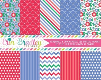 80% OFF SALE Digital Paper Pack Personal and Commercial Use Blue and Red Flowers