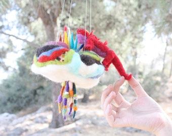 Needle Felted Waldorf Mobile, Baby Crib Mobile, Lizard Dragon, bedroom art decoration, waldorf playscape, felted story, housewarming, baby