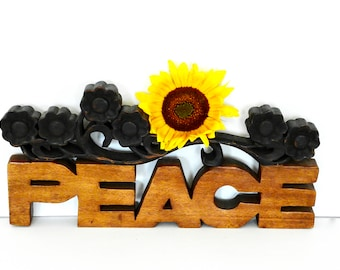 Vintage Wooden Peace Sign