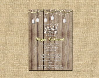 Bridal Shower, Fairy Lights Mason Jar Rustic Invitation, Color options available