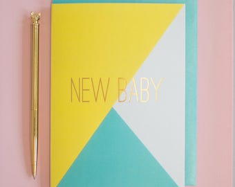 New baby gold foil greeting card