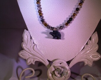 Black Gemstone Eagle with Silver Leaf Agate Necklace