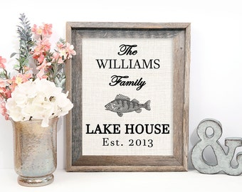 Lake House Decor, Lake House Sign Personalized, Lake House Decorations, Burlap Print