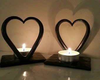 6th Anniversary Love Heart T Lights~ Candle~ Birthday~ Iron Wedding~ Gift for Her/ Her Partner Love Blacksmith Made Christmas Gift