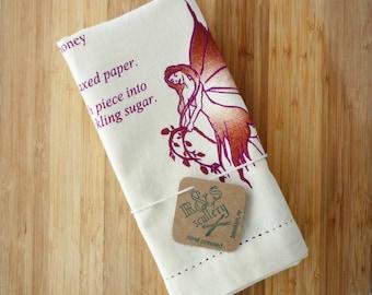Sugar Plum Fairy, Dish Towel, Kitchen Towel, Christmas Gift, Recipe, Kitchen Art, Gourmet Gift, Foodie Gift, Silk Screen, Ready to Ship