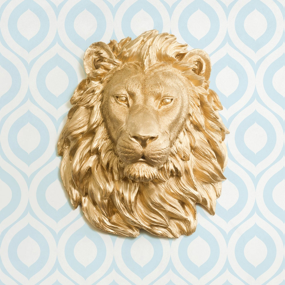 Faux Lion Head by Wall Charmers Faux Taxidermy Wall Mounted