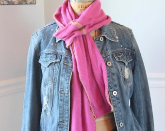 Lush, hand-crocheted scarves made from repurposed cashmere sweaters (in pink)