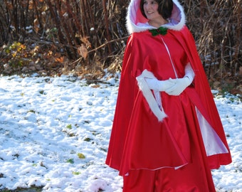 Mrs Claus Costume, Red Cape and Skirt