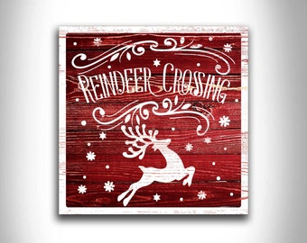 REINDEER CROSSING unique holiday home decor