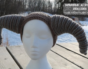 Krampus Headband, crochet horns handmade made to order