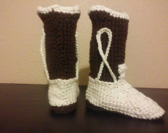 Cowboy boots crocheted