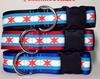 Moxino Chicago Flag dog collar