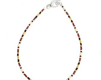 Thin Anklets for Women - Red and Gold - Anklet - 9.75 to 10.75 Inches