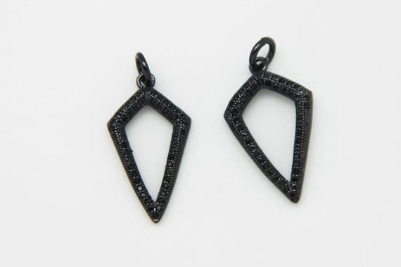 CZ Micro Pave 14x25mm  Hollow Arrow Pendant