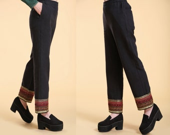 Ethnic Style Embroidered Ankle Linen Pants / Elastic waist Pants with Embroidered Ribbon/ In BLACK/ RAMIES