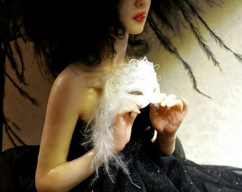 RESERVED, Final Payment--Raven, OOAK Hand Sculpted Fantasy Art Doll Collectible
