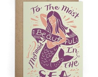 I Like You Card, Mermaid Greeting Card, Bday Card, Best Friend Card, Just Because, Valentines Cards, Love Card