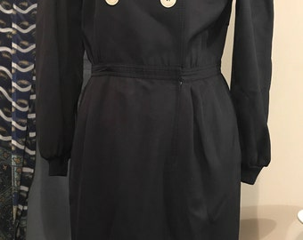 Designer Vintage Valentino Miss V Double Breasted Dress In Dark blue With Cream Buttons - Size 44 / 8 Made In Italy