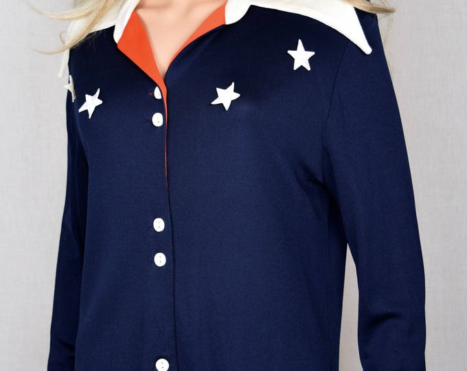 Vintage 1960's Women's 2 Piece America Patriotic USA Red White Blue Stars Shirt & Shorts Outfit Size M