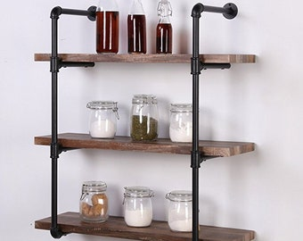 Merveilleux DIY Shelves Industrial Pipe Shelf, 3 Shelf Metal Bookcases Furniture, Wall  Mount Iron Pipe