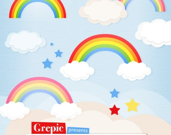 Pastel Rainbows Clipart Scrapbook printables Vector Rainbow