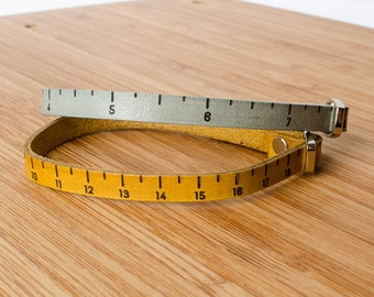 Inch Ruler Measurment Custom Skinny Adjustable Leather Bracelet