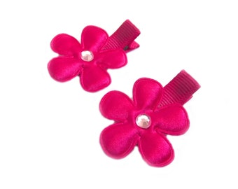 CLEARANCE Hot Pink Flower Hair Clips Bright Pink Hair Clips Pink Barrettes Pink Bows Baby Girl Hair Clips Baby Hair Clips Baby Clips Summer