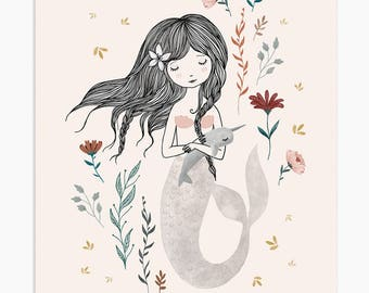Mermaid Themed Nursery Room, Little Mermaid Print, Girl Wall Art, Nursery Print, Pink Nursery Art, Illustration Print Art, Mermaid Gift