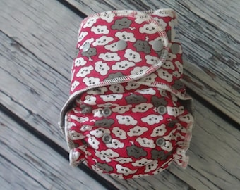 Fitted Cloth Diaper - Stay Dry Liner - Overnight Fitted - Optional Hemp or Bamboo Insert - Pink Clouds