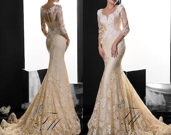 Wedding dress with train,Mermaid wedding dress,Wedding dress with open back,Wedding dress with long sleeves,