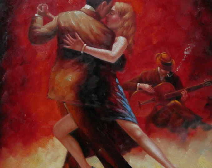 Tango Couple Painting Bold Colors Oil on Canvas Wall Art Beautiful Decor