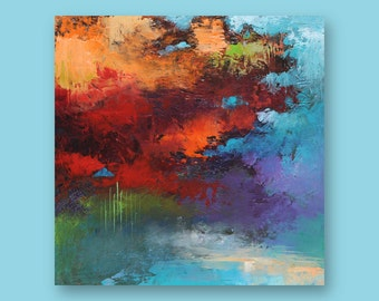"Original Abstract Art Painting  •  12"" x  12"" Contemporary Art  • FLOATING SQUARE #1  •  Oil Painting"