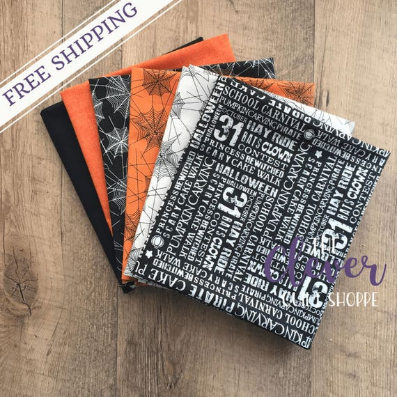 Halloween, Fat Quarter Bundle,  Trick or Treat, Penny Rose, Spider, Web, Orange, Black, Quilting Fabric, Precut, Bella Carta, Words, White