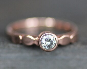 Moissanite Engagement Ring - Solid 14K ROSE Gold Pebble Band - 4mm Ethical Gemstone (Size 3 - 9) - Recycled Eco Metal - Diamond  Alternative