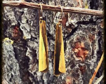 Twisted Brass Dangling Earrings