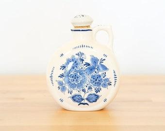 Vintage Blauw Delfts bouteille • Royal Distel Carafe • Floral pot en céramique • cuisine blanc bleu • Hollande Chinoiserie • Country Cottage poterie