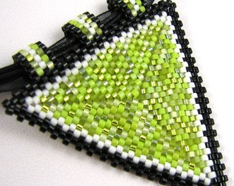 Basic Peyote Triangle Pendant in Chartreuse, Black, and White with Black Choker (2589)