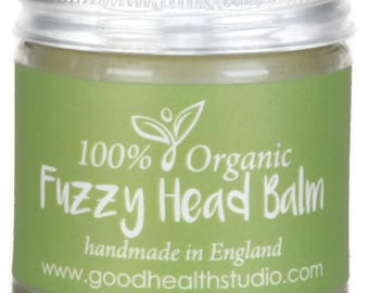 Headache or Migraine natural relief aid. Organic Balm, Fuzzy Head is made with aromatherapy essential oils including lavender & peppermint