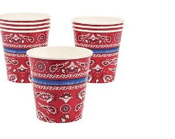 Red Paisley Bandanna 8 ct Paper Cups 9 oz  Western Theme Cowboy Bandana