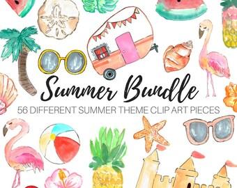 Watercolor clip art - Summer clip art - Tropical clip art - Vacation clip art - Commercial Use.