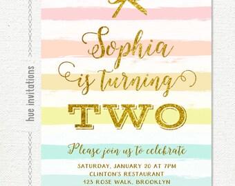 rainbow girls birthday invitation, gold glitter 2nd birthday invitation, pastel stripes and gold bow girly birthday party two 227