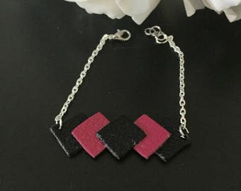 Bracelet 17cm black fuchsia silver leather