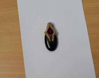 Black Onyx Pendant, Handmade Design