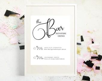 Mr and Mrs Signature Drink Menu, PDF Instant Download, Wedding Drink Menu, Wedding Sign, The Bar Menu, Wedding Bar Menu Printable, Template