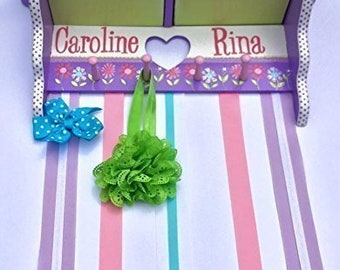 Personalized and Hand Painted Large Hair Bow Holder Shelf with Drawers, Made to Match