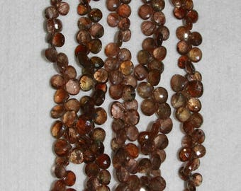 Andalusite, Andalusite Briolette, 8 mm, Faceted Briolette, Heart Briolette, Brown Briolette, Semi Precious, Half Strand, AdrianasBeads