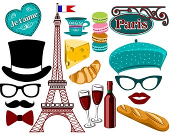 Paris digital photo booth party props instant download