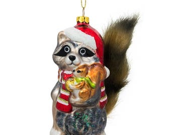 """4.75"""" Raccoon Holding Squirrel Glass Christmas Ornament"""