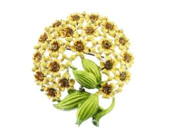 Vintage Enamel Flower Brooch, Yellow Enamel Flower Brooch, Enamel Flower Pin, Rhinestone Flower Brooch, Orange Enamel Flower